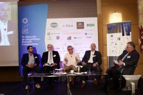 Panel IIΙ: Υπηρεσίες προστιθέμενης αξίας στους εξαγωγείς - Στο πάνελ συμμετείχαν οι ομιλητές (από αριστερά στην φωτογραφία): Ανδρέας Σπυρίδης, Ιδρυτής, iTrust Digital Strategy, Σάββας Πελτέκης, Διευθύνων Σύμβουλος, TUV HELLAS (TUV NORD), Στράτος Τσαχπίνης, Ιδρυτής & Managing Director, Fotone LTD, Δημήτρης Χρήστου, Manager, Market Development, GS1 Association Greece. Συντονιστής του πάνελ: Χρήστος Κώνστας, Δημοσιογράφος